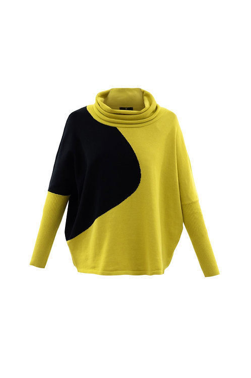 Marble - Black and yellow cowl neck printed jumper