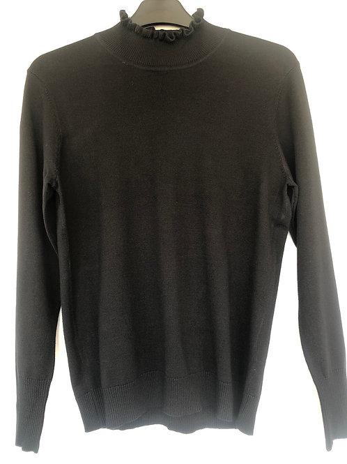 Sunday -  Black jumper with stand up frill neckline