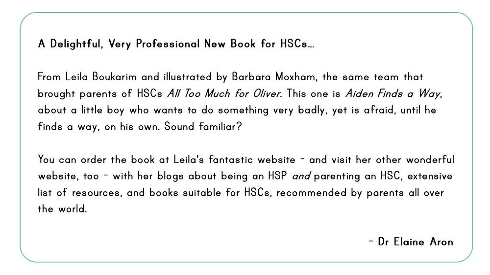 This is what Elaine Aron had to say about Aiden Finds a way - Picture Book by My Quiet Adventures