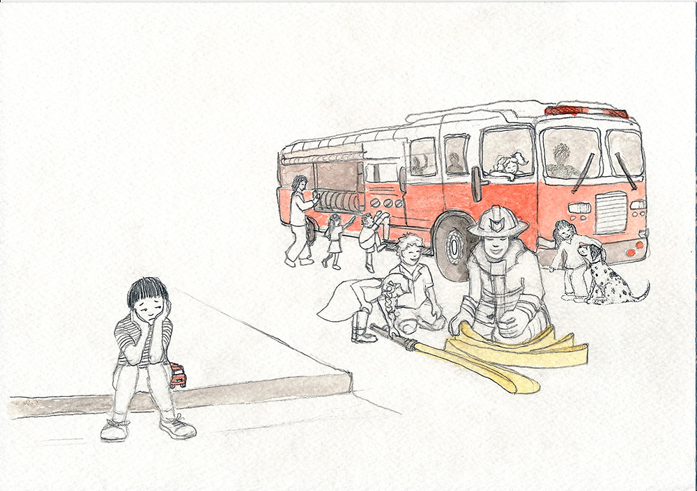 Aiden at the fire station - Illustration from Aiden Finds a Way