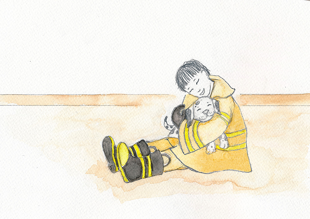 Aiden makes a new friend - Illustration from Aiden Finds a Way