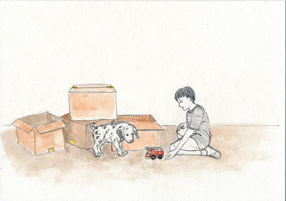 Aiden helps a scared puppy - Illustration from Aiden Finds a Way