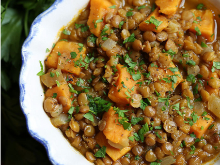 Sweet Potato and Green Lentil Stew