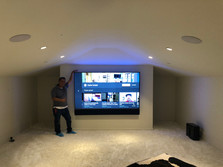 """77"""" Sony OLED TV Mounted in Theater Room"""