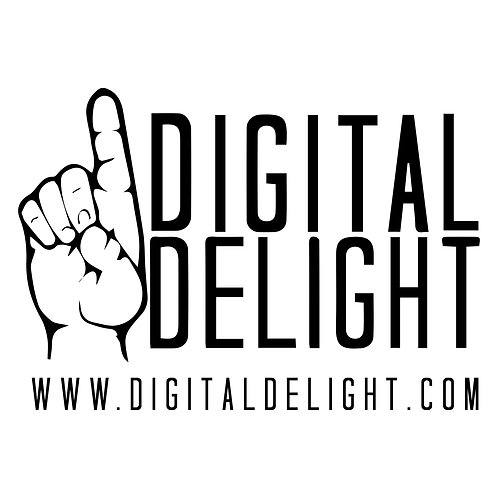 White Digital Delight Logo Decal
