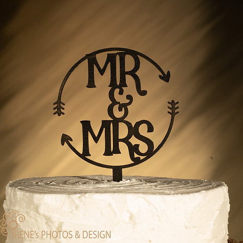 Mr and Mrs Cake Topper with Arrows