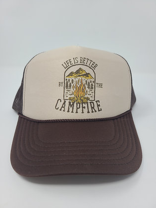 Unisex Trucker Hat-Life is better by the campfire
