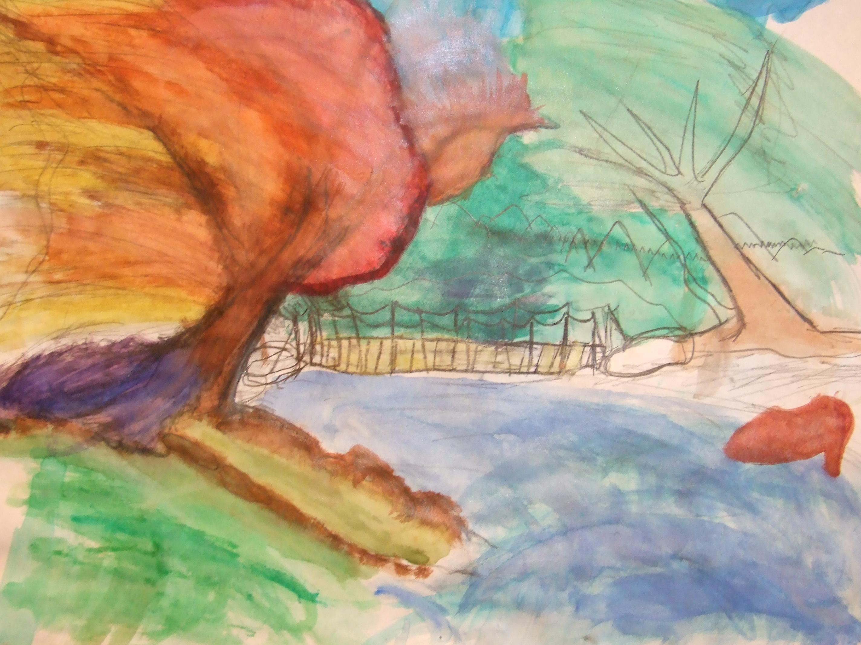 Flowing Tree Watercolor