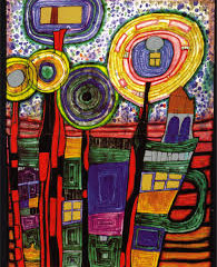 Broadway Clay Class in March Studying Friedensreich Hundertwasser and why he HATED the square.