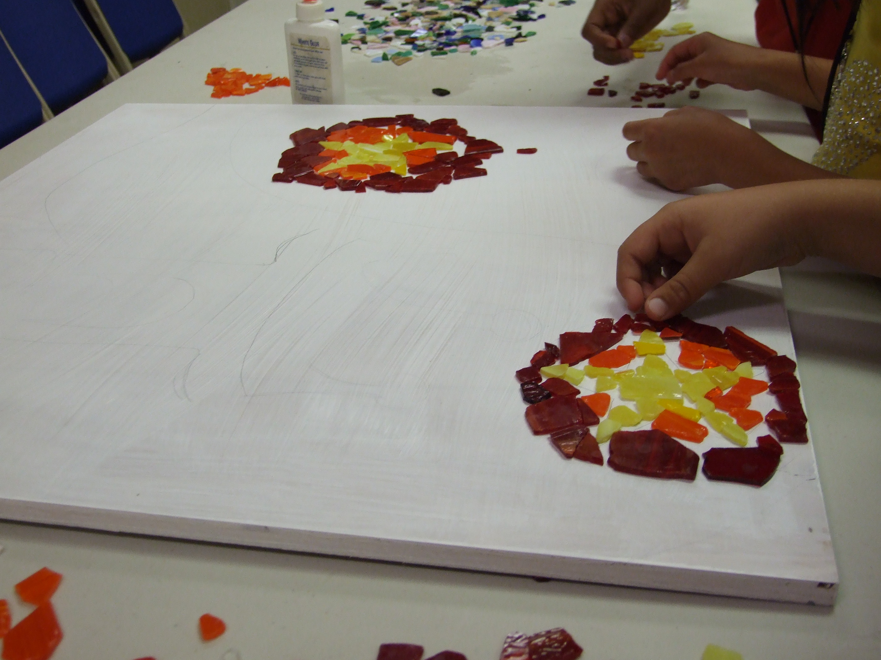 Glass Mosaic at VBS in progress