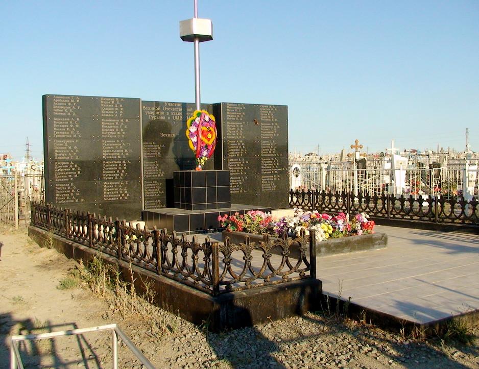 Мемориальная плита над братской могилой солдат, умерших от болезней и ран в эвакуационных госпиталях г. Гурьева