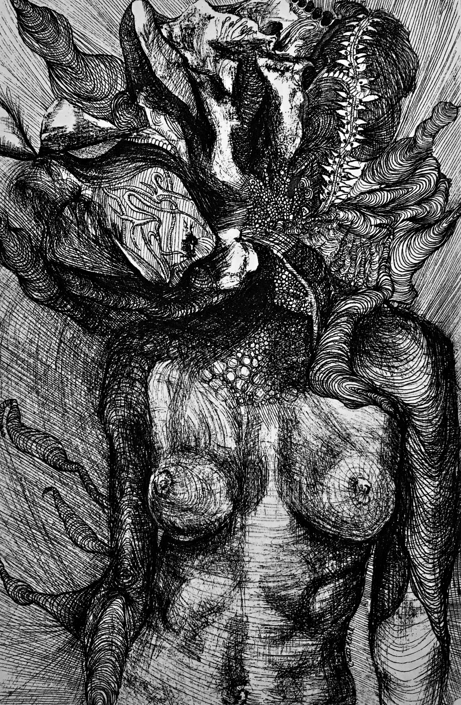 Caitie Kohl Desnudo 5.5x8.5in Ink on watercolor paper 2017