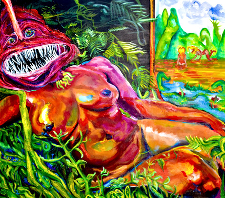Venus of Urbino 36x40in oil paint, gel medium, gesso, and collaged paper on canvas 2020