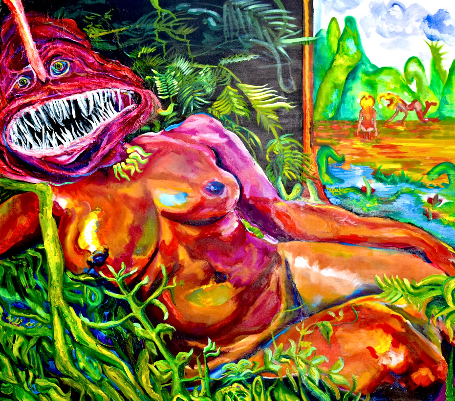 Caitie Kohl Venus of Urbino 36x40in oil paint, gel medium, gesso, and collaged paper on canvas 2020
