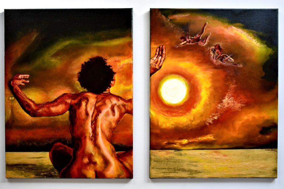 Twenty Ascend Diptych 38x50in, 18x24in each panel oil, gel medium, and paper on canvas 2020