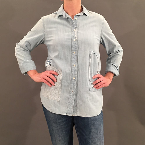Jeansbluse, bestickt, Gr. S