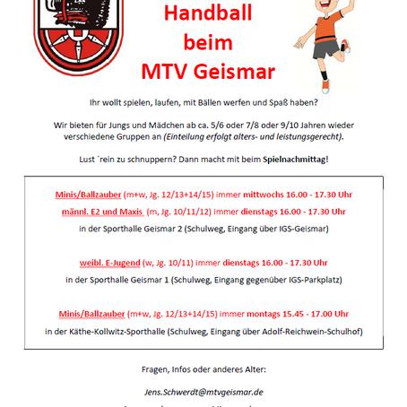 Kinder-Handball beim MTV Geismar