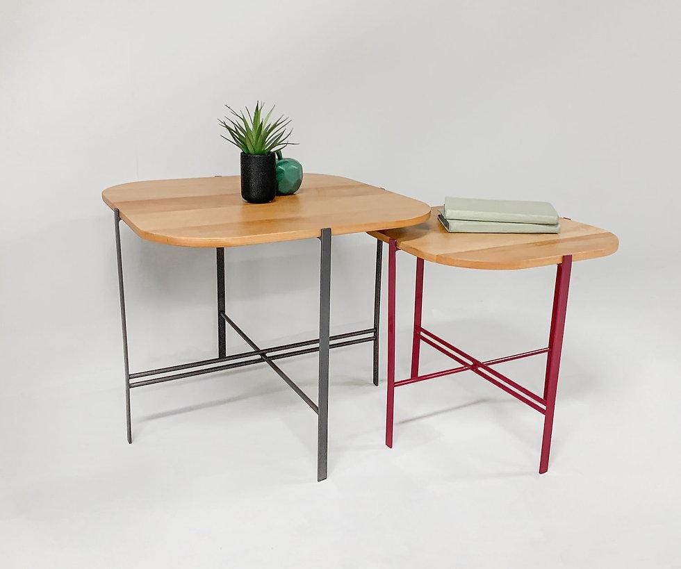 שולחן קפה מברזל ועץ