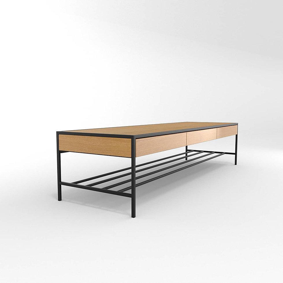 שולחן סלון מעוצב מברזל ועץ
