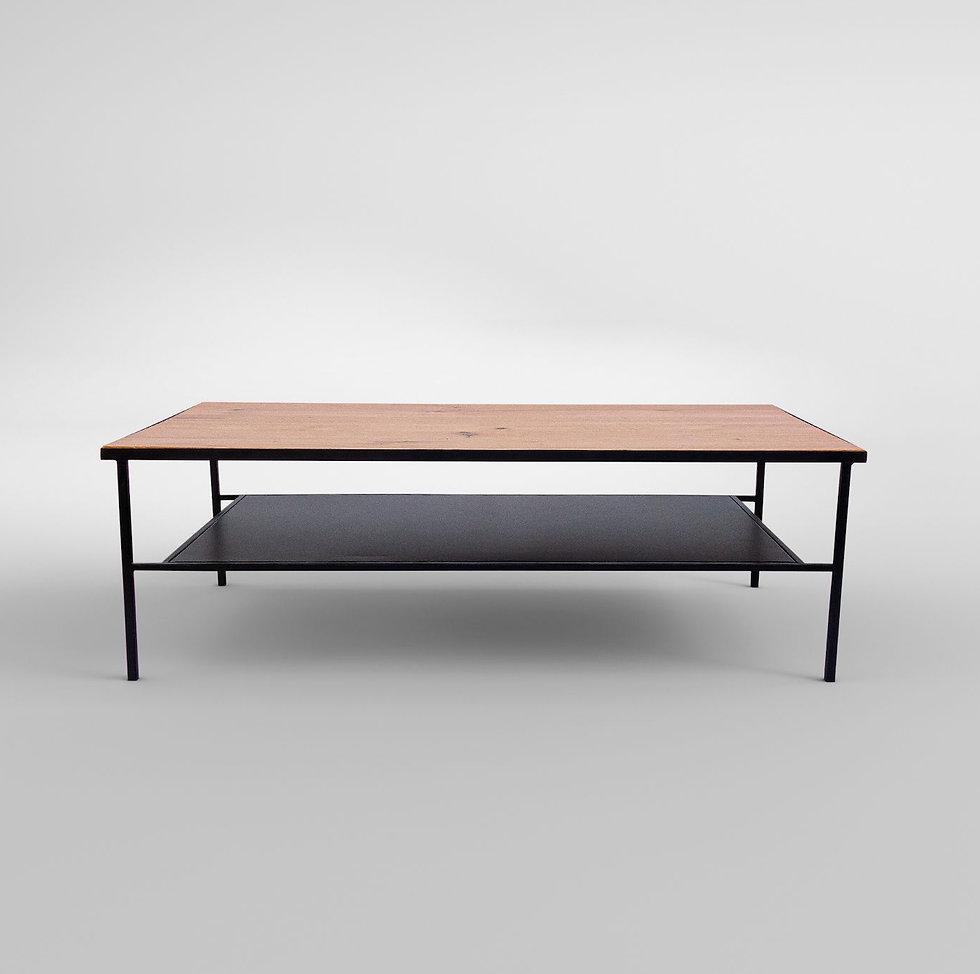 שולחן לסלון מברזל ועץ