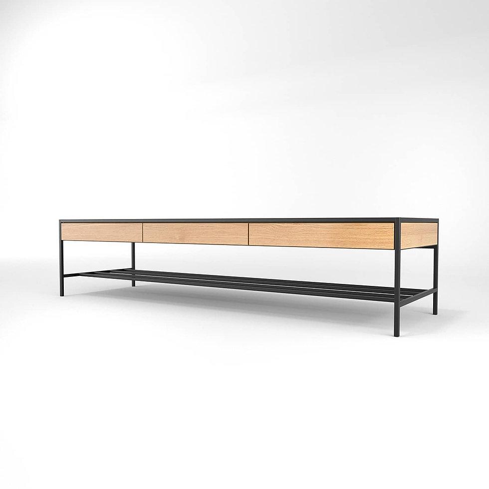 שולחן סלון מברזל ועץ