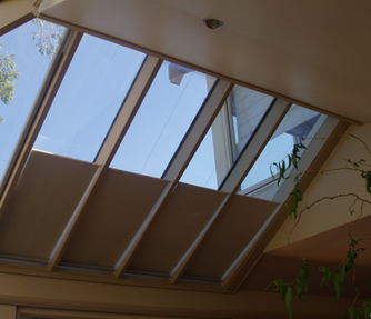 Grovewood blinds - self supporting conservatory blinds 45 degree angle - half mast