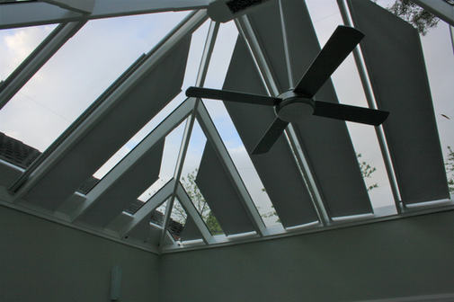 Grovewood blinds - side mounted conservatory blinds 30 degree angle - semi closed