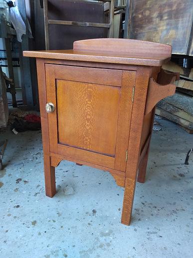 Silky Oak bedside cabinet after restorat