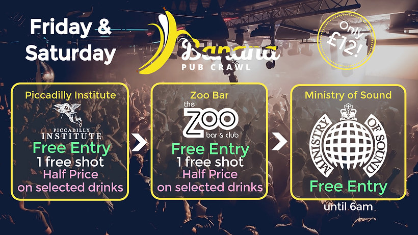 Banana Pub Crawl London party Ministry of Sound cub zoo bar