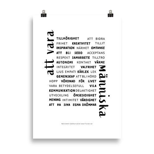 Poster Att vara människa Svartvit