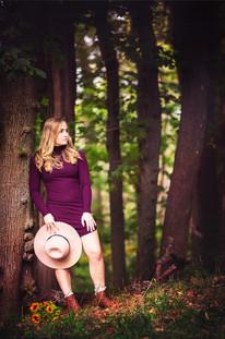 JBella Photography Kim Messina Senior Portraits Ny Suffolk county Nassua County Senior portrait photographer   in woods with hat