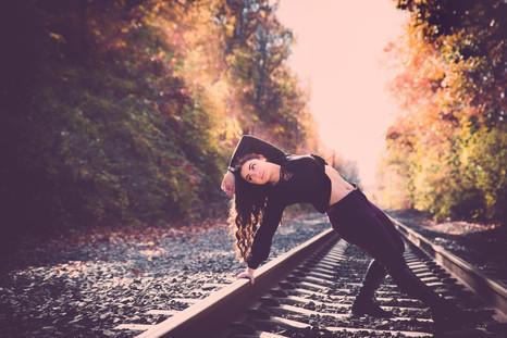 JBella Photography Kim Messina Senior Portraits Ny Suffolk county Nassua County Senior portrait photographer  dancer on train tracks
