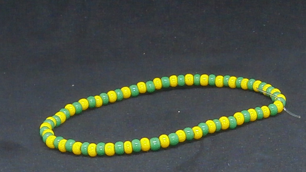 Ide IFA - Orunmila Bracelet, Cuban Tradition - Green and Yellow beads