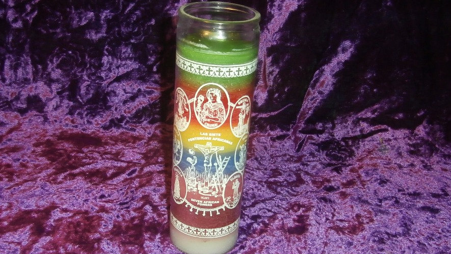 INDIO - 7 African Powers Candle - Printed Glass 7 Day Candle