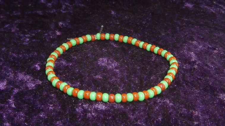 Ide IFA - Orunmila Bracelet, African Traditional - Green and Brick beads
