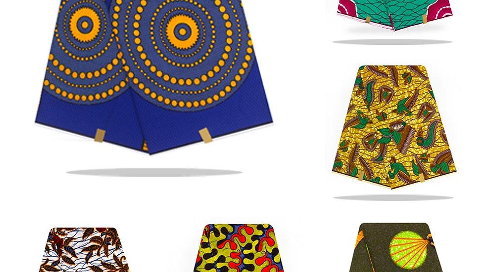 African Wax Prints Fabric 100% Cotton 6 Yards Guaranteed Real Wax Fabric