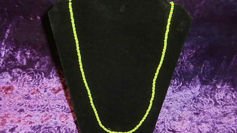 Eleke IFA Orunmila Cuban Tradition - Green and Yellow beads