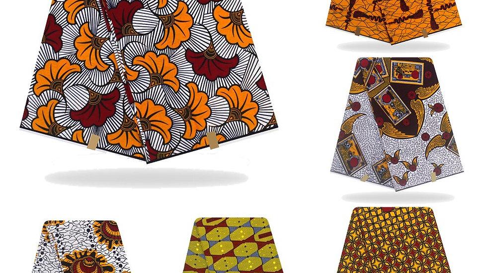 African  Wax Fabric 100% Cotton 6 Yards/Pcs