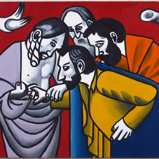 The Doubting of Leger Tryptich - Panel 1, Oil on Canvas