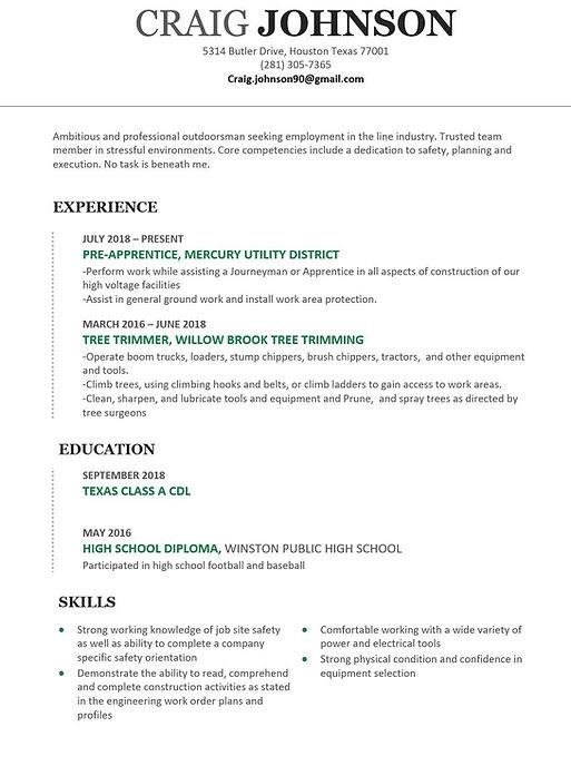 perfect lineman apprenticeship resume.JP