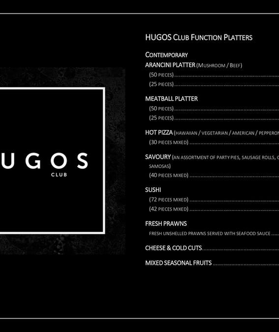HUGOS Club Function Platters pg 1