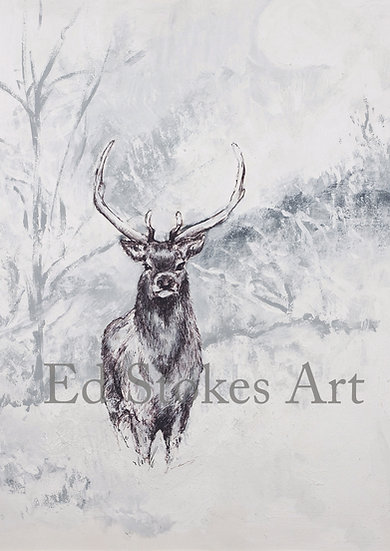 Red Stag in Winter Print