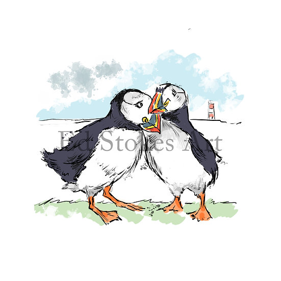 Cuddling Puffins Cartoon