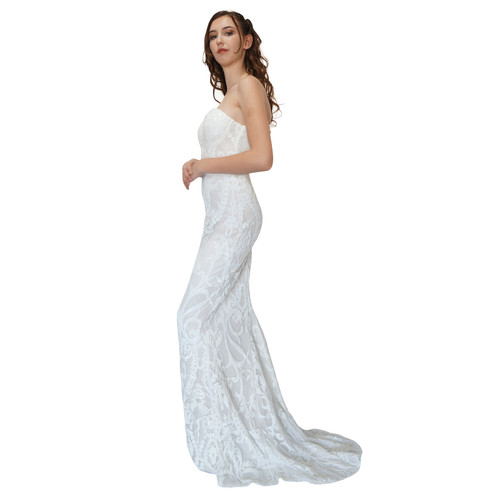 8cc8872d ... Strapless sequin white evening dress Envious Bridal & Formal ...