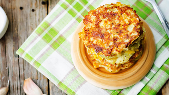 Corn Zucchini Fritters w/ Avocado Cream
