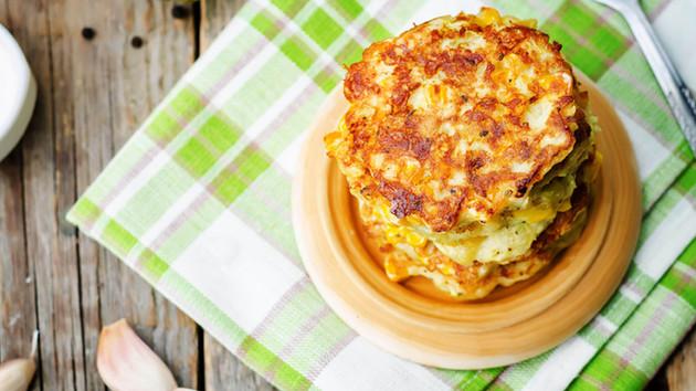 Corn Zucchini Fritters w/ Avocado Cream