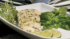 GRILLED HALIBUT WITH LEMON VERMOUTH BUTTER