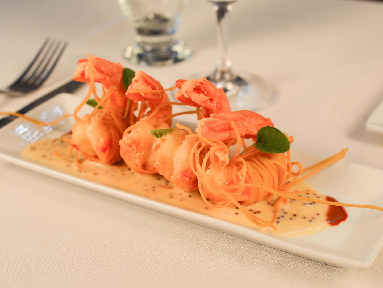 Wild caught Argentinian shrimp, laced in crispy spaghettini, warm Strega rémoulade