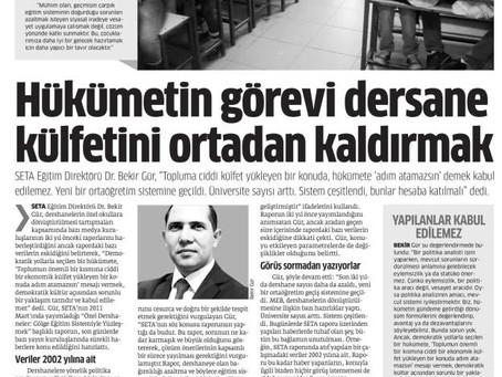 Hükümetin Görevi Dershane Külfetini Ortadan Kaldırmaktır (Star, 24 Kasım 2013)