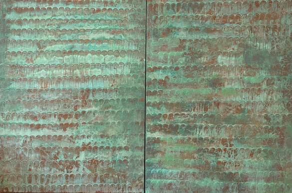 Patina Fish Scale Diptych